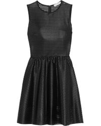 Sandro Black Rollanda Perforated Stretch-mesh Dress