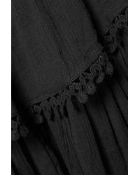 LoveShackFancy Black Embroidered Pleated Cotton-gauze Mini Skirt