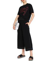 McQ Alexander McQueen Black Flocked Cotton-jersey T-shirt