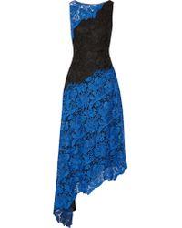 Badgley Mischka | Black Two-tone Asymmetric Lace Dress | Lyst