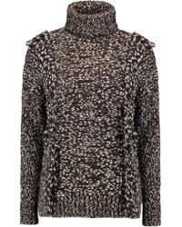Iris & Ink Multicolor Fernanda Cotton And Wool-blend Turtleneck Sweater