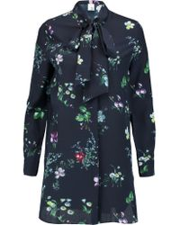 Iris & Ink - Blue Claudia Floral-print Pussy-bow Silk-georgette Blouse - Lyst