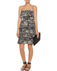 Rebecca Minkoff Black Jessica Printed Silk Mini Dress