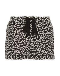 Equipment Black Lilian Printed Washed-silk Pajama Shorts