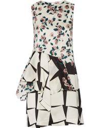 SUNO Natural Ruffled Printed Silk Mini Dress
