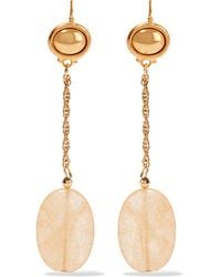Kenneth Jay Lane | Metallic - Gold-tone Stone Earrings | Lyst