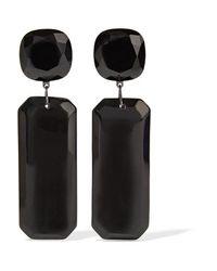Kenneth Jay Lane - - Gunmetal-tone Stone Clip Earrings - Black - Lyst