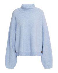 Veronica Beard Cady Mélange Knitted Sweater Light Blue