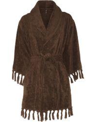 Lisa Marie Fernandez Brown Fringed Cotton-terry Robe