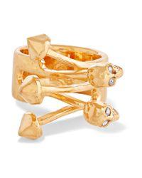 Alexander McQueen | Metallic Gold-tone Crystal Ring | Lyst