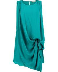 Halston Blue Draped Silk Mini Dress