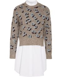 3.1 Phillip Lim Gray Layered Printed Knitted And Cotton Sweater
