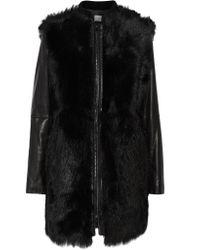 Vince Black Leather-paneled Shearling Coat