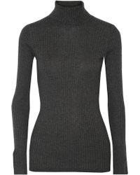 Vince | Gray Ribbed- Knit Turtleneck Sweater | Lyst