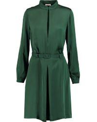 Totême  - Green Murau Belted Satin Mini Dress - Lyst