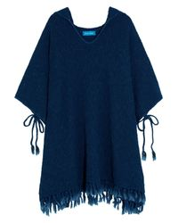 MiH Jeans Malaquite Cotton-blend Hooded Poncho Storm Blue Size M/l