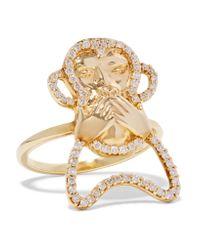 Khai Khai | Metallic Speak No Evil 18-karat Gold Diamond Ring | Lyst