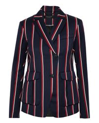 Rag & Bone Blue Woman Striped Wool And Cotton-blend Blazer Navy