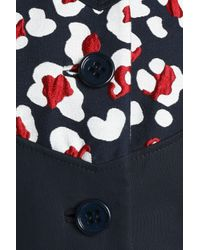 RED Valentino Blue Paneled Printed Cotton-blend Coat Navy