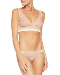 Mimi Holliday by Damaris | Pink Lace-paneled Mesh And Stretch Silk-satin Triangle Bra | Lyst