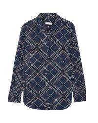 Equipment - Blue Slim Signature Printed Washed-silk Shirt - Lyst