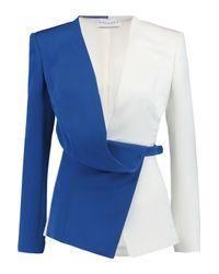 Vionnet - White Belted Color-block Stretch-silk Jacket - Lyst