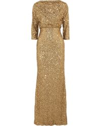 Badgley Mischka | Metallic Sequined Tulle Gown | Lyst