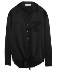 Equipment Black Luis Tie-front Silk-charmeuse Shirt