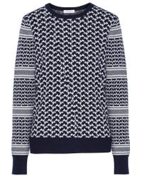 Equipment | Blue Shane Houndstooth Cotton And Cashmere-blend Sweater | Lyst