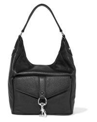 Rebecca Minkoff Black Hudson Moto Textured-leather Shoulder Bag