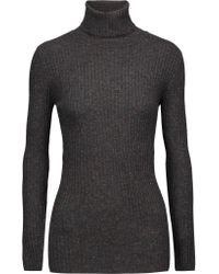 Autumn Cashmere | Gray Ribbed Cashmere Turtleneck Sweater | Lyst