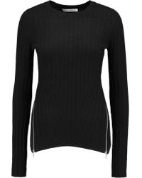 Autumn Cashmere | Black Zip-detailed Ribbed-knit Sweater | Lyst