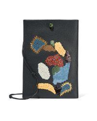 The Row Black Medicine Embellished Textured-leather Shoulder Bag
