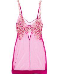 La Perla   Pink Embroidered Tulle Chemise   Lyst