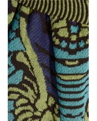 M Missoni Green Cotton-blend Jacquard Straight-leg Pants