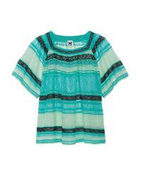 M Missoni   Green Crochet-knit Cotton-blend Top   Lyst