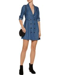 W118 by Walter Baker Blue Christin Pleated Chambray Dress
