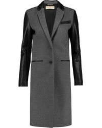 MICHAEL Michael Kors | Gray Leather-paneled Wool-blend Coat | Lyst