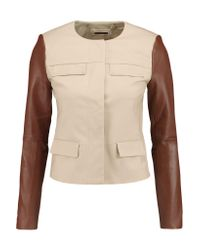 MICHAEL Michael Kors Natural Leather-paneled Stretch-cotton Jacket