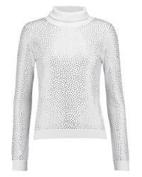 Alice + Olivia | White Jordana Crystal-embellished Wool Turtleneck Sweater | Lyst