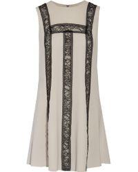 Alice + Olivia | White Edwina Lace-paneled Silk-blend Mini Dress | Lyst