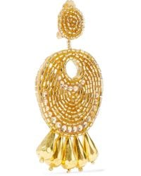 Kenneth Jay Lane Metallic Woman Gold-tone, Bead And Crystal Earrings Gold