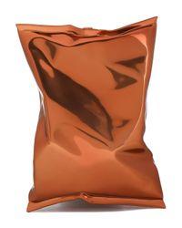 Anya Hindmarch Brown Crisp Packet Metallic Perspex Clutch