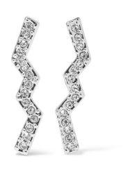 Rebecca Minkoff | Metallic Geometric Silver-tone Crystal Earrings | Lyst