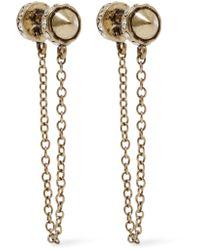 Rebecca Minkoff - Multicolor Golden Crystal Arrow Front-back Drop Earrings - Lyst