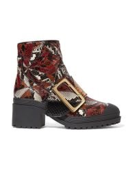 Burberry Red Patchwork Python Ankle Boots
