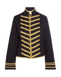 Figue Blue Regiment Embroidered Cotton And Linen-blend Twill Jacket