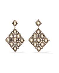 Noir Jewelry   Blue Plateau Gold-tone Crystal Earrings   Lyst