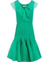 Oscar de la Renta | Green Ruffled Silk-chiffon And Organza Dress | Lyst