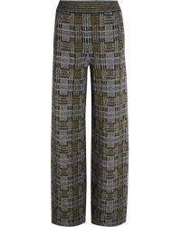 Bottega Veneta Gray Plaid Stretch-knit Wide-leg Pants